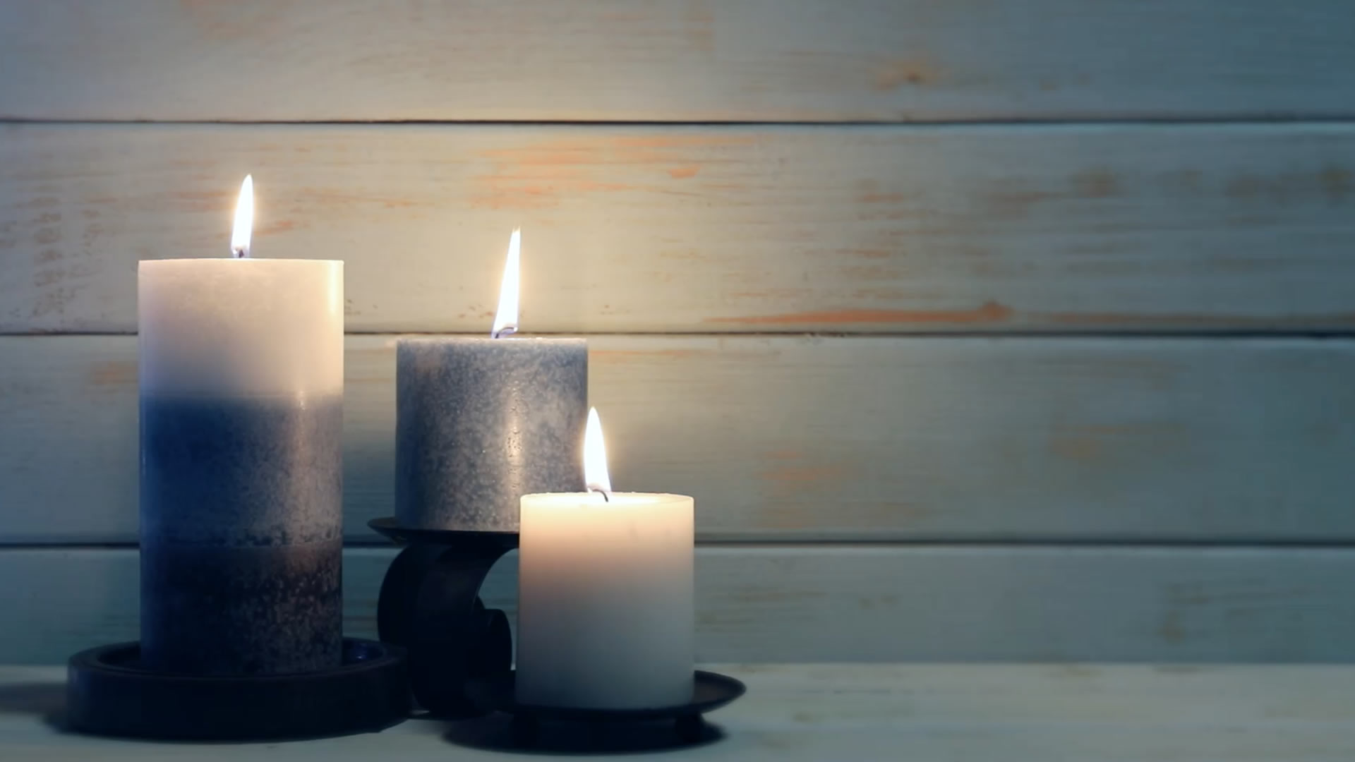 Candles With Blue Wood Video Background Loop