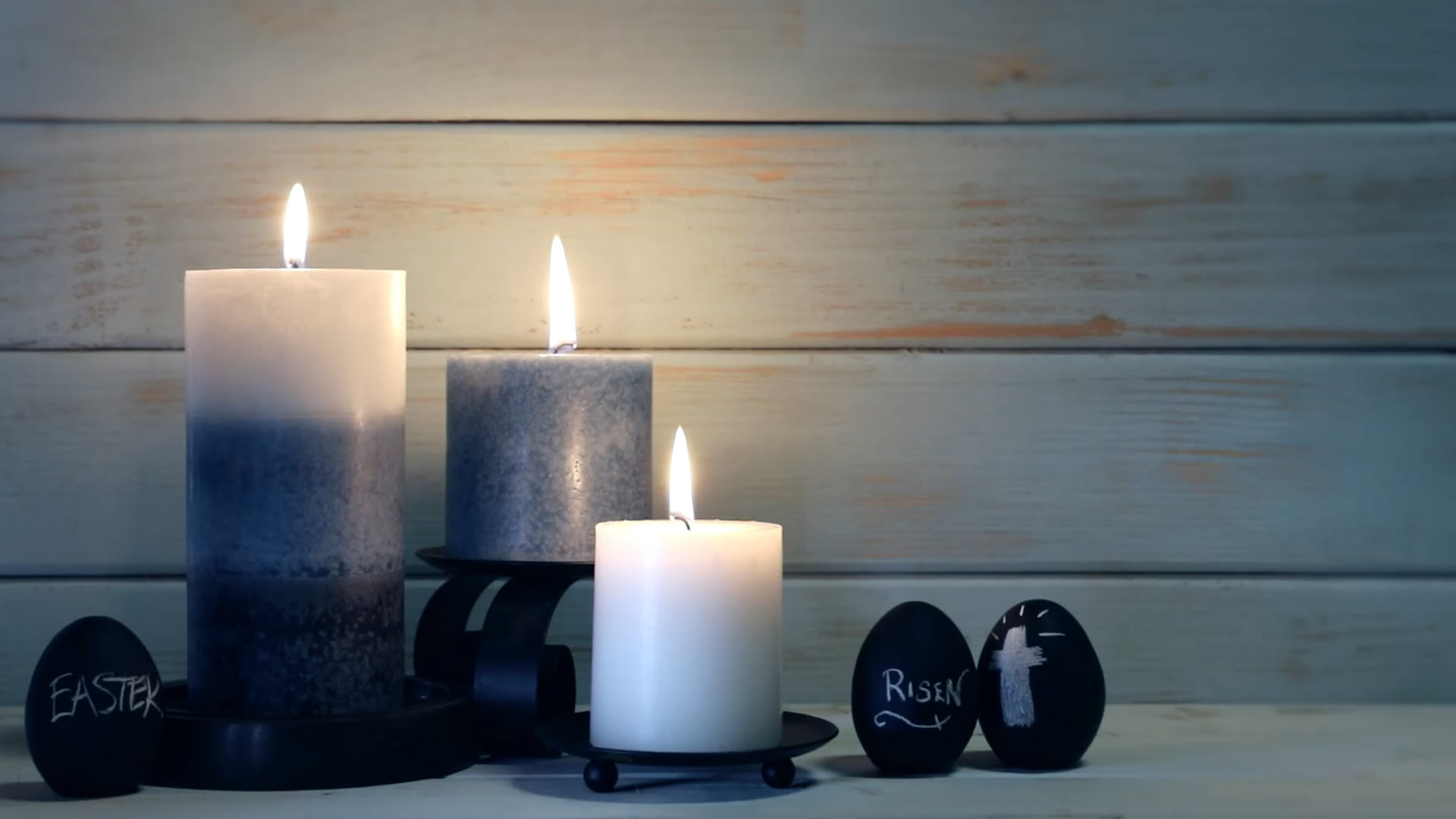 Easter Candles With Blue Wood Video Background Loop