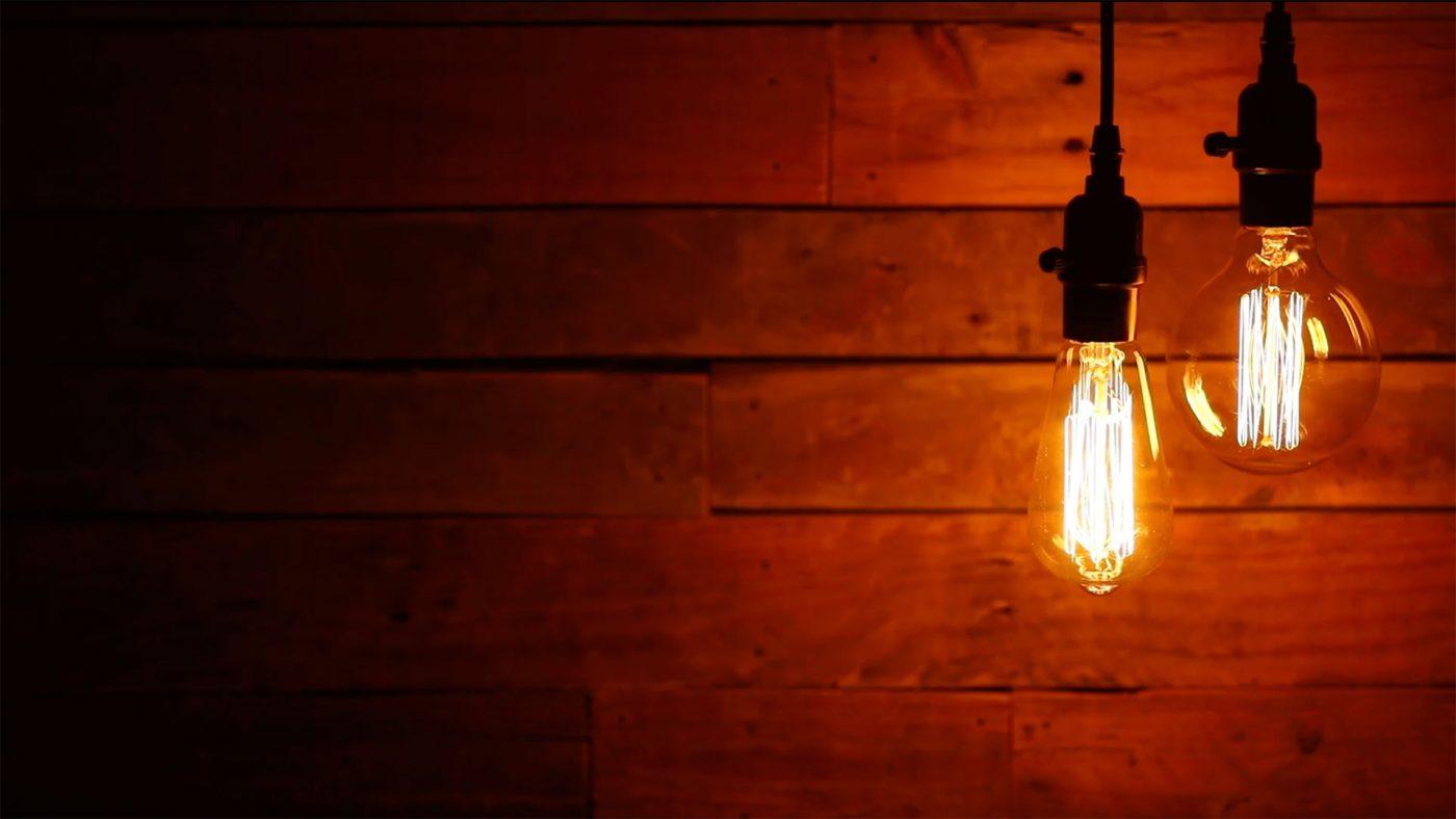 Urban Light Bulbs on Wood Background Video