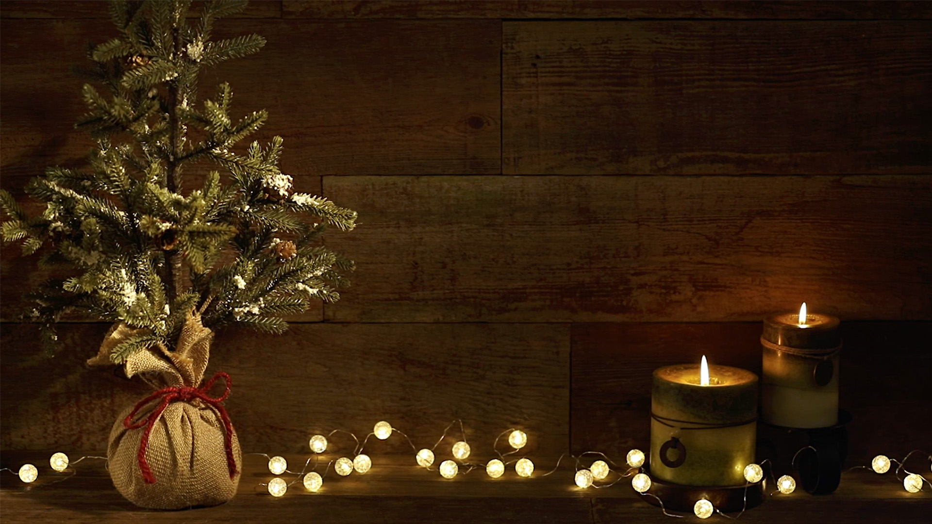 Christmas Tree With Candles on Retro Wood Background Loop video ...