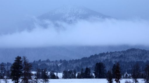 Mammoth Mountain the fog covered in snow during the winter